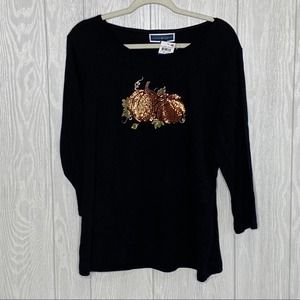 Karen Scott sequin pumpkin top